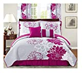 Purple Bedding and Curtain Sets All American Collection New 6 Piece Printed Reversible Bedspread Set with Dust Ruffle (Purple/Grey, King Size)