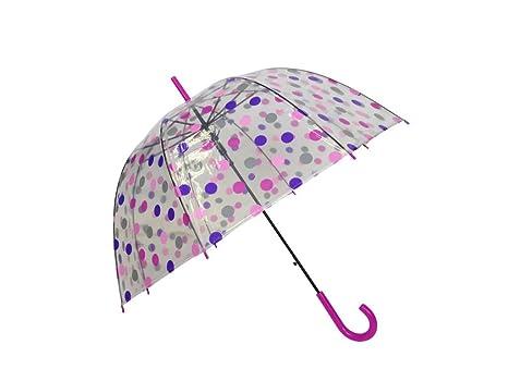 SMATI Paraguas largo transparente forma de campana - automático-Puntos coloreados (Fucsia)