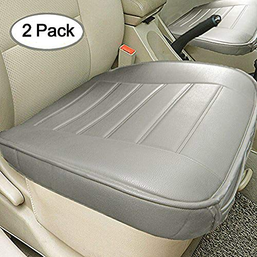 (Big Ant Edge Wrapping 2pc Car Front Seat Cushion Cover Pad Mat for Auto Supplies Office Chair with PU Leather(Grey))