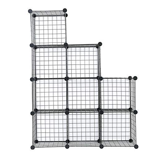 (C&AHOME Metal Wire Storage Cubes, DIY 9-Cube Closet Black and Toys Shelving Grids, Wire Mesh Bookcase Shelves or Shoe Rack, Black)