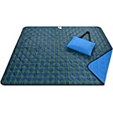 Roebury Picnic Blanket & Beach Blanket - Large Oversized Water-Resistant Sandproof Mat for Outdoor Travel or Camping Folds into a compact Tote Bag (Green/Blue Plaid)