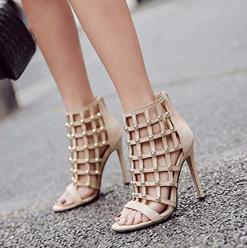Fashion 35 Open 40 Shoes Size 11cm Sandals Roma Beige Eu Color Shoes Rivets Shoes Women Stiletto Hollow Court Zipper Pure Dress OL Toe R4xCw8gwq