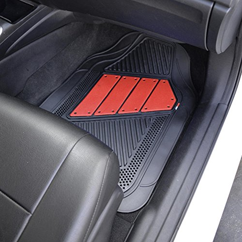 Two tone polycloth car seat covers w motor trend dual for Motor trend floor mats review