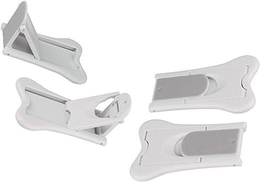 Cerradura de puerta corredera para seguridad infantil sin tornillos, sin necesidad de herramientas, sin tornillos ni taladros, color blanco, 4 unidades: Amazon.es: Hogar