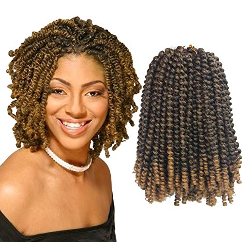 Beauty : Eerya Afro Spring Twist Crochet Braids 3 Pack Bomb Twist Crochet Hair Ombre Colors Synthetic Jamaican Bounce Short Fluffy Hair Extension 8inch (1B/27#)