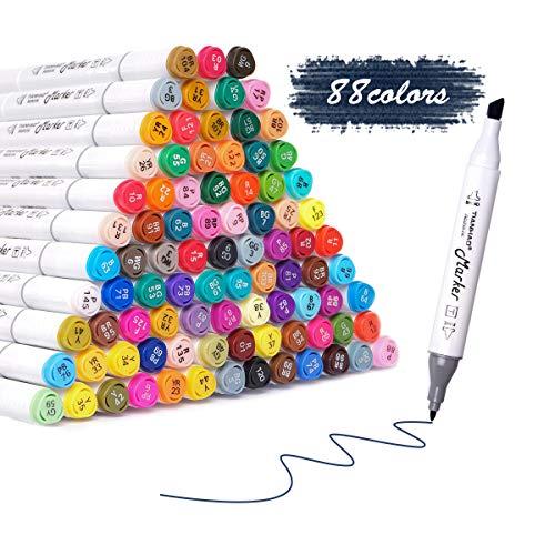 Rotuladores TIANHAO, Juego de rotuladores de arte de 88 colores, Rotuladores de graffiti de doble punta para niños y adultos, Rotulador resaltador para dibujar, dibujar, colorear, resaltar y subrayar