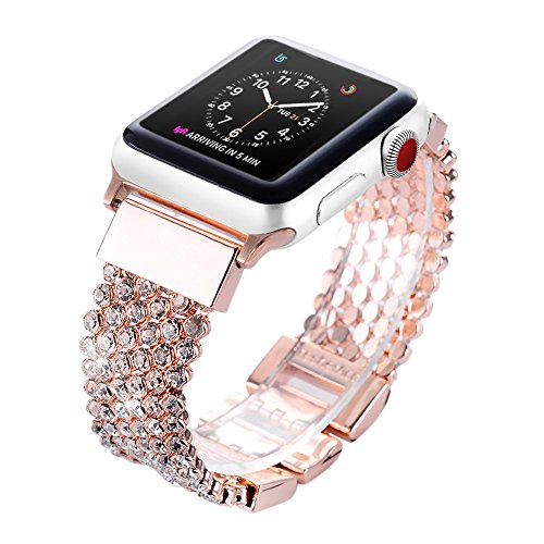 Apple Watch Band 42mm for Women Girls, FresherAcc Bling CZ Crystal Diamond Loop Replacement Strap for iWatch Series 1, 2, 3, Sport Edition Nike+ Hermes (42mm Rose Gold) (Children Watch Band)