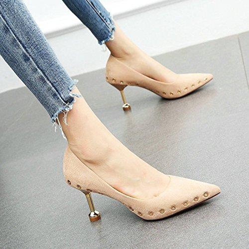 tacchi sottolineato da Pink YMFIE stiletto temperamento e scarpe rivetti da sexy Primavera scarpe lavoro alti autunno donna 8XqXwna6
