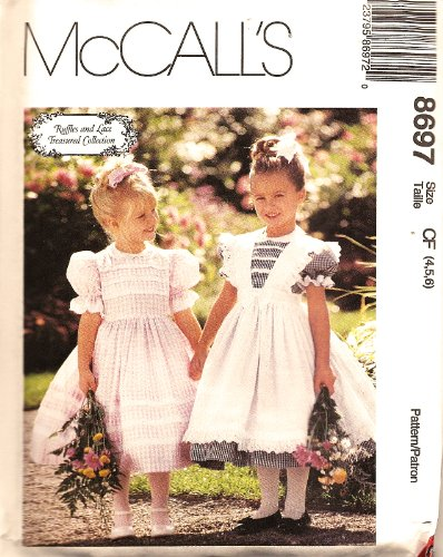 Girls Pinafore Pattern - McCall's 8697 Fancy Little Girl's Dress & Pinafore (Size 4,5,6) Sewing Pattern