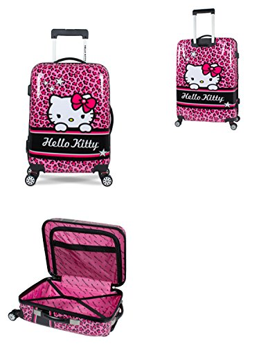 Hello Kitty Rolling Luggage (iFLY Hello Kitty Polycarbonate Hardshell Rolling Luggage Case Spinner (Hello Kitty-28))