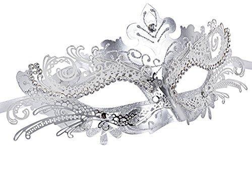Venetian Carnival Mardi Gras Mask (Masquerade Mask Shiny Metal Rhinestone Venetian Pretty Party Evening Prom Mask (Silver gray))