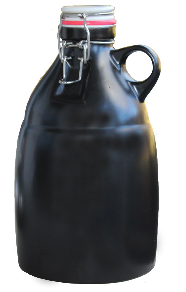 Beer Growler with Flip Top Lid, Ceramic, Black - 64oz