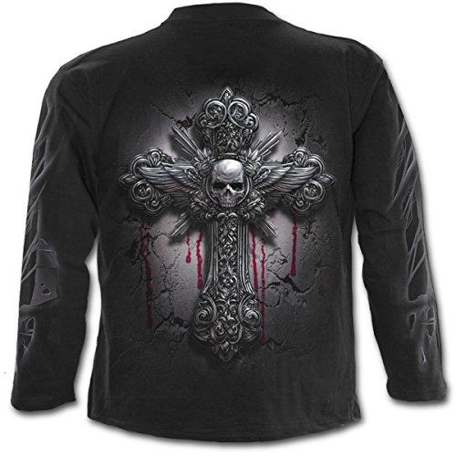 Spiral - Men - Tote Hand - Langarm-T-Shirt Schwarz