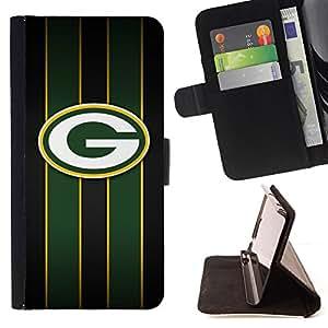 - Green Bay Packer Hockey - - Prima caja de la PU billetera de cuero con ranuras para tarjetas, efectivo desmontable correa para l Funny HouseFOR Samsung Galaxy S5 V SM-G900