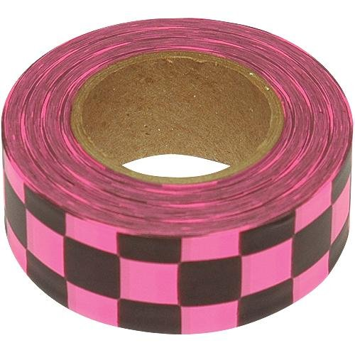 Flagging 300' Roll - Flagging Tape, 1-3/16 Inches Wide x 300 Foot Roll (Fluorescent Pink and Black Checkerboard)