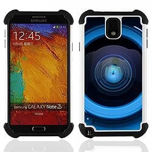 """SAMSUNG Galaxy Note 3 III / N9000 / N9005 - 3 en 1 impreso colorido de Altas Prestaciones PC Funda chaqueta Negro cubierta gel silicona suave (Reflexión de la lente"""")"""