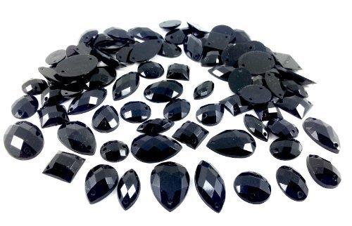 Cristaux & Gemmes Royaume-uni 80 Noir Facettes Acrylique À Coudre Cristaux De Diamante Crystals & Gems Uk