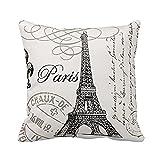 Createforlife Paris Eiffel Tower Stamp Square Custom Throw Pillow Case, 18 X 18-Inch