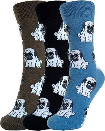 (Phuut Women's Little Pug Socks (3 Pair Gift Set) Size 9-11)