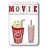 3dRose (lsp_222695_1) the Word Movie with Popcorn and Soda Illustration In Red, White, and Gray Single Toggle Switch
