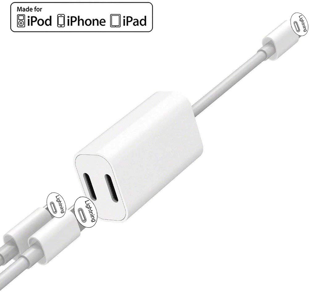 Amazon Com Apple Mfi Certified Iphone Adapter Splitter 2 In 1 Dual Lightning Headphone Jack Audio Charge Cable Compatible For Iphone 11 11 Pro Xs Xr X 8 7 Ipad Support Ios 13 Sync