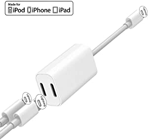 [Apple MFi Certified] iPhone Adapter & Splitter, 2 in 1 Dual Lightning Headphone Jack Audio + Charge Cable Compatible for iPhone 11/11 Pro/XS/XR/X 8 7, iPad, Support iOS 13 + Sync Data + Music Control