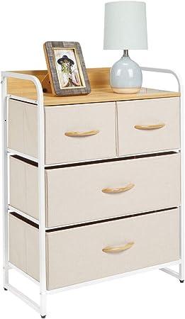 mDesign Cómoda para dormitorio con 4 cajones – Mueble con cajones ancho para el salón, la habitación