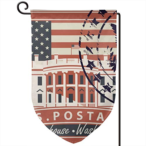 Bajibeng~ Postage Stamp with White House in Washington Dc Outdoor Decorative Flag with One Side Printed for Garden Yard Festive Holiday Party Welcome -