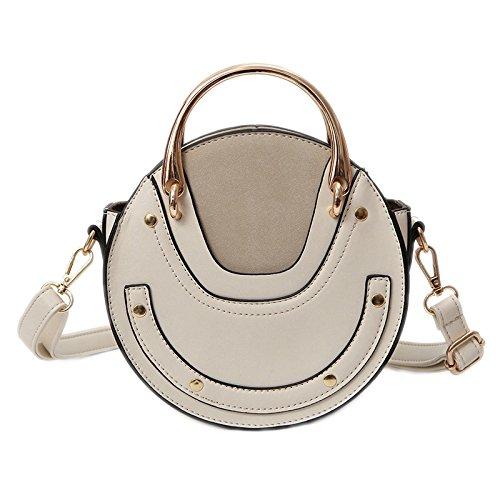 Misonz Handbag Leather Metal Women Bags PU Retro Round Circular beige Scrub Ring Small AHwAqgR0