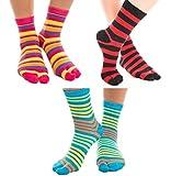 3 Pairs V-Toe Striped Flip-Flop Socks Novelty Fun Two Toe Tabi Style Fun Socks