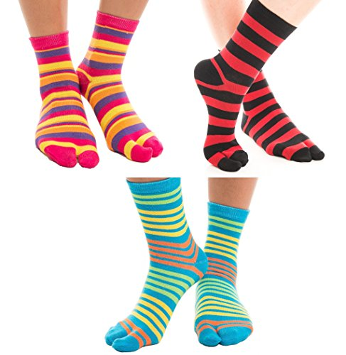 (3 Pairs V-Toe Striped Flip-Flop Socks Novelty Fun Two Toe Tabi Style Fun Socks)