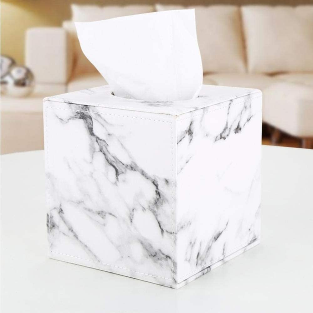 Caja de pa/ñuelos cuadrada dise/ño de cubo de m/ármol BPK