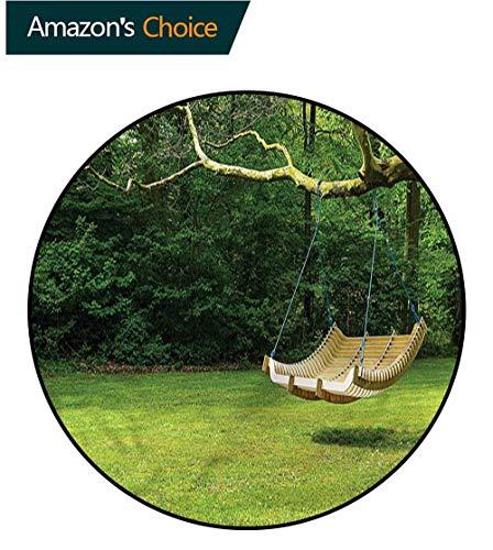 RUGSMAT Garden Anti-Skid Area Rug,Curved Swing Bench On Tree Non-Slip Bathroom Soft Floor Mat Home Decor Diameter-63