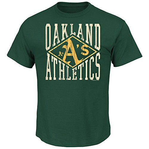MLB Oakland Athletics Men's Point Advantage Tee, Large, - Oakland Athletics Green
