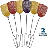 PIC Bug & Fly Swatter - Extra Long Handle Fly Swatters - Indoor/Outdoor - Pest Control Flyswatter (2 Pack)