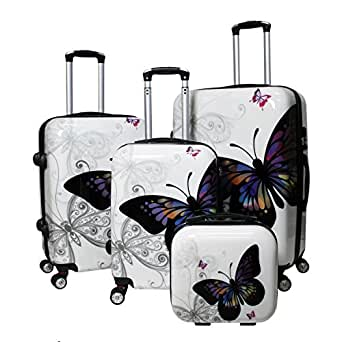 World Traveler 4 Piece Hardside Upright Spinner Luggage Set, Butterfly, One Size