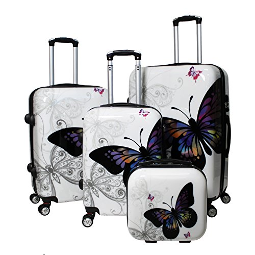 Butterfly 4-Piece Hardside TSA Lock Spinner Luggage Set