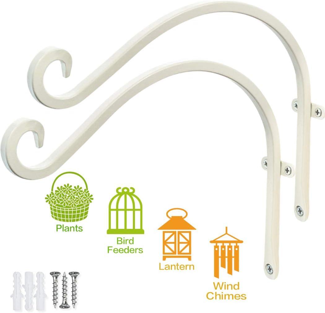 "Generice Plant Hangers Outdoor (12""/Cream-White) Heavy Duty Plant Hooks for Flower Basket Wind Chime Bird Feeder Lantern, Hanging Plant Bracket"