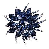 Merdia Flower Brooch Pin for Women Brides Created Crystal Brooch Blue