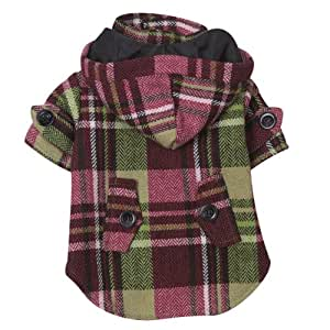 East Side Collection Polyester Herringbone Plaid Dog Jacket, Teacup, 6-Inch