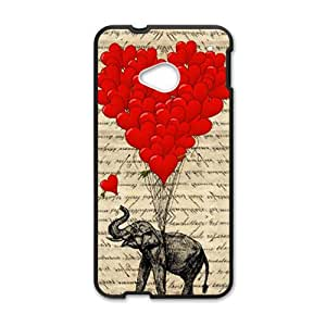 Elephant with Red heart shape balloon Cell Phone Case for HTC One M7
