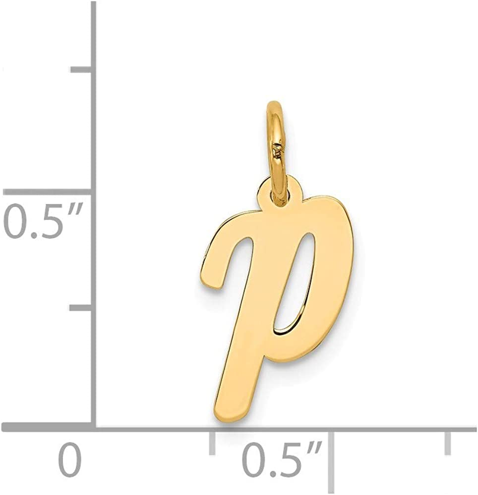 Width 8 to 11 Jewels By Lux 14K Yellow Gold Small Script Initial E Charm