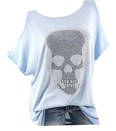 KLJR-Women Round Neck Rhinestone Skull Print T-Shirts Top Purple US (Women Round Neck Rhinestone)