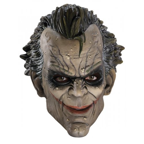 Asylum Joker Costume (Batman Arkham City Three-Fourth Vinyl Joker Mask, White/Green, One)