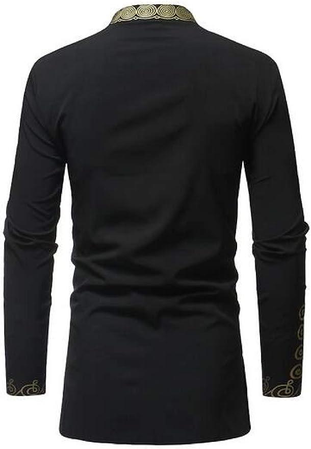 Suncolor8 Mens Slim Fit Casual African Print Dashiki Long Sleeve Button Down Dress Shirt