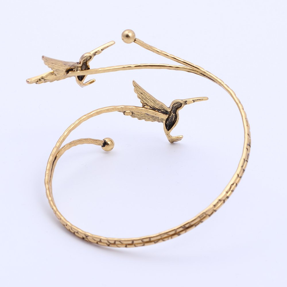 TUSHUO Simple Double Hummingbird Arm Bangle Bracelet Fashion Animal Bird Jewelry Upper Armlet Armband (Antique Gold) by TUSHUO (Image #3)