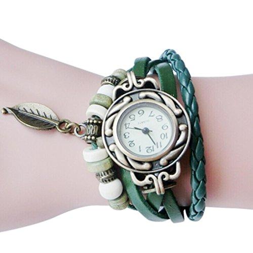 Hot Sale! Women Quartz Fashion Boho Style Retro Weave Wrap Around Leather Bracelet Wrist Watch (Green) from Qisc