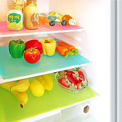 ATPWONZ 17.7 x 11.4 Inch Refrigerator Mat EVA Refrigerator Liners Washable Fridge Mats Drawer Table Shelf Liner (Can Be Cut,6 Packs)