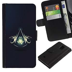 Billetera de Cuero Caso Titular de la tarjeta Carcasa Funda para Samsung Galaxy S5 Mini, SM-G800, NOT S5 REGULAR! / Assassins Logo / STRONG