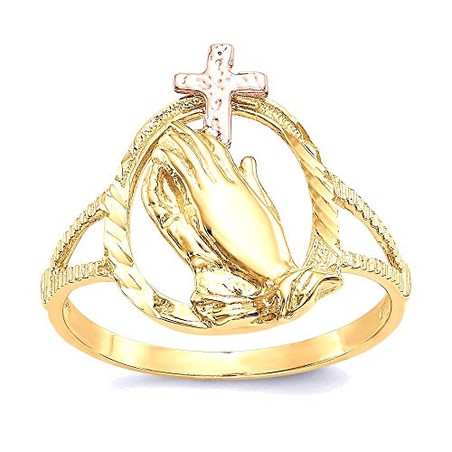 rings : White-and-yellow-gold 14K Two-tone Diamond Cut Praying Hands Cross Ring